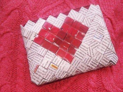 """Porte-monnaie réalisé en papier recyclé : """"Coeur et mots doux"""" : Porte-monnaie, portefeuilles par anais60 sur ALittleMarket"""