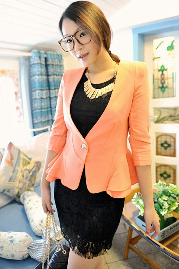 One Button Fastening Blazer - OASAP.com