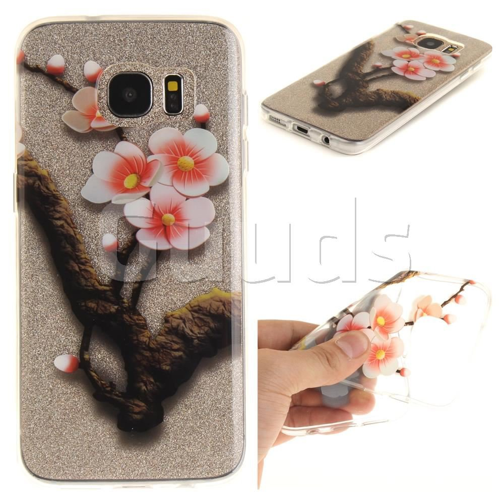 Plum Big Blossoms Super Clear Soft TPU Back Cover for Samsung Galaxy S7 Edge s7edge - TPU Case - Guuds