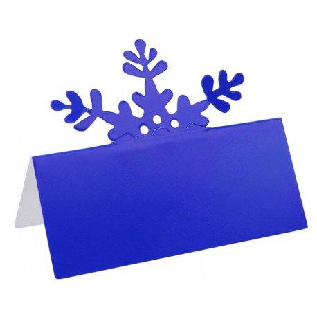 Marque place flocon de neige bleu en carton les 10 : Déco de table