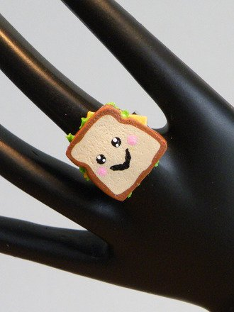Bague sandwich kawaii en fimo réglable