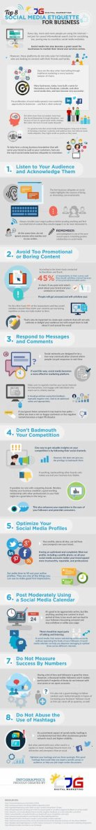 just free learn : Top 8 Social Media Etiquette for Business Infographic