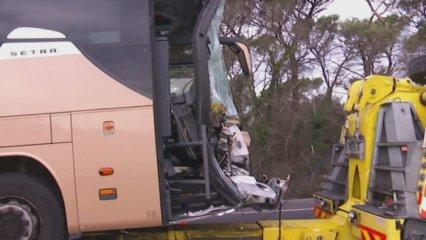 Accident de dos autocars a Maçanet de la Selva