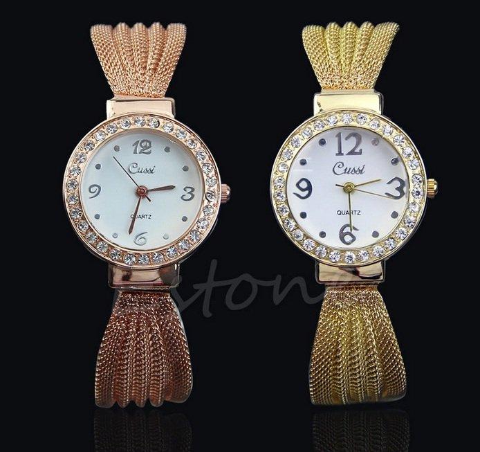 Women Bangle Bracelet Stainless Steel Crystal Dial Quartz Analog Wrist Watch