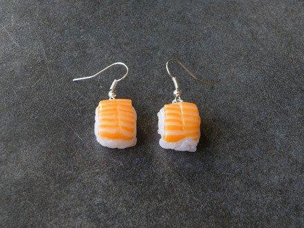 Boucle d'oreille Sushi au saumon en fimo Argent 925