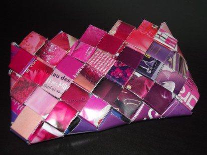 Pochette / Sac en Papier recyclé - couleurs : Rose/ Mauve : Sacs à main par anais60 sur ALittleMarket