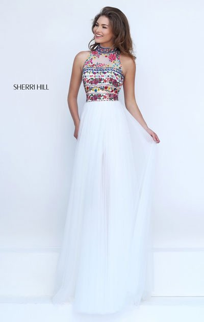 2017 High Neck Embroidery Bodice Sherri Hill 50141 Ivory/Multi Tulle Long Slit Prom Dresses