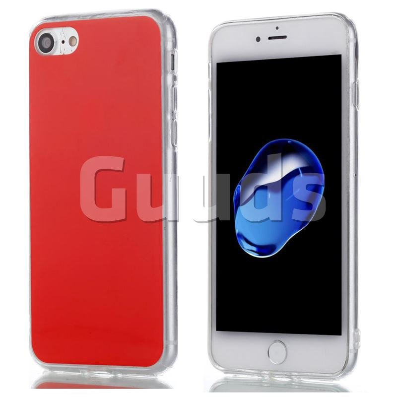 Double Film Candy Soft TPU Back Cover for iPhone 8 / 7 (4.7 inch) - Red - TPU Case - Guuds