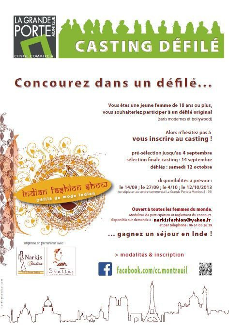 CASTING DEFILE : Défilé Bollywood habillé par Narkis Fashion