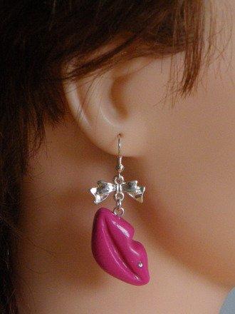 Boucle d'oreille bouche en fimo Argent 925 : Boucles d'oreille par jl-bijoux-creation