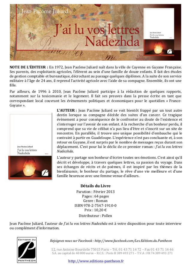 "Présentation ""J'ai lu vos lettres Nadezhda"", Jean Pacôme Juliard"