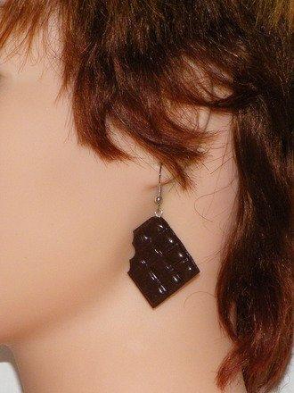 Boucle d'oreille tablette chocolat croquée en fimo Argent 925