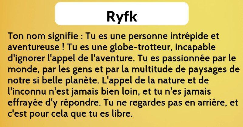 Que signifierait RYFK si c'était un prénom ...