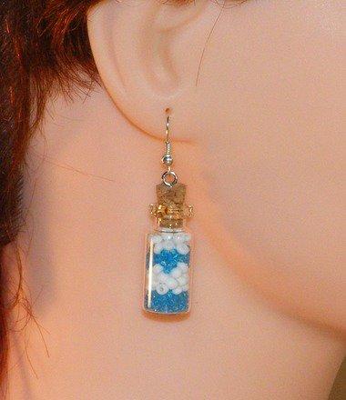 Boucle d'oreille fiole avec perle rocaille Argent 925