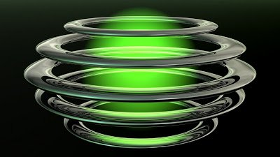 3D Abstract Glossy Spiral Rings With Green Lights