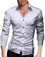 Homme Chic Fashion Chemise de Loisir Manche Longue Shirt Moulée Couleur Contraste: Amazon.fr: Vêtements et accessoires