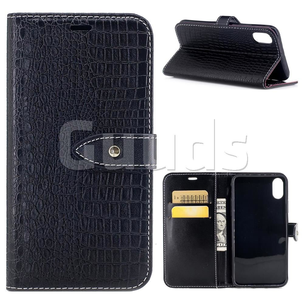 Luxury Retro Crocodile PU Leather Wallet Case for iPhone 8 - Black - Leather Case - Guuds