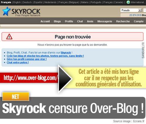 Skyrock censure Over-Blog ! - SANSURE.FR