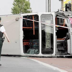 31 injured as Belfast bus overturns - BelfastTelegraph.co.uk