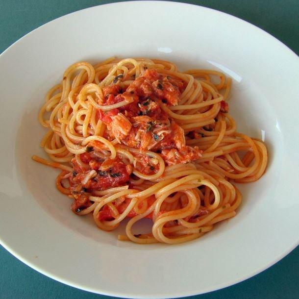 Spaghetti au crabe des neiges pauvre en sel