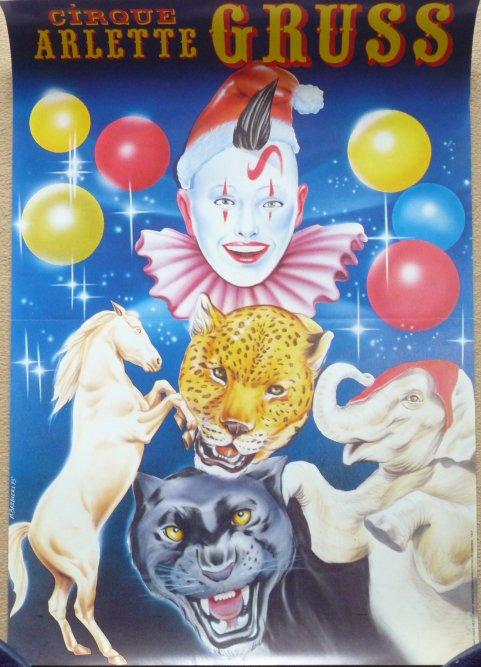 Affichette cirque ARLETTE GRUSS - Clown, animaux - 1