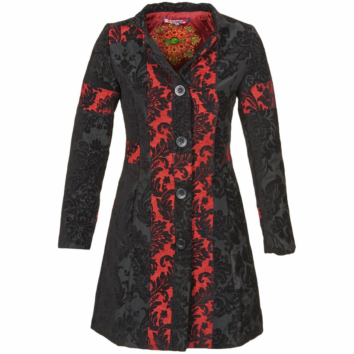 manteaux desigual moski noir rouge spartoo tendance mode femme. Black Bedroom Furniture Sets. Home Design Ideas