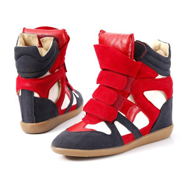 2e62c883e6 high level isabel marant high wedge sneakers suede and leather red white  black for sale,