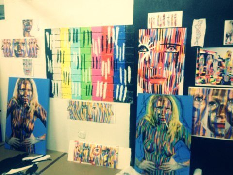 getting creative in my friends art studio in New York
