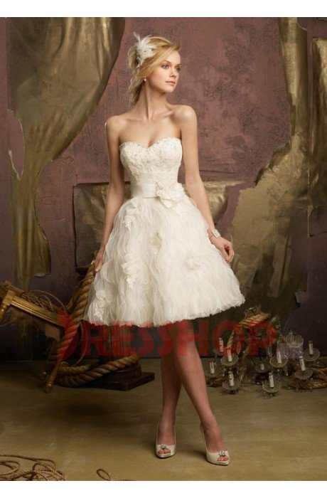 A-line Strapless Beading Zipper Bridal Dresses - DresShop.US