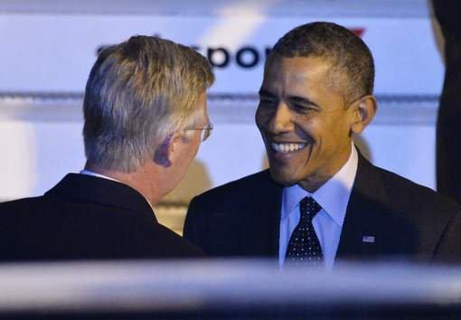 Obama arrivé au pas de course à Bruxelles