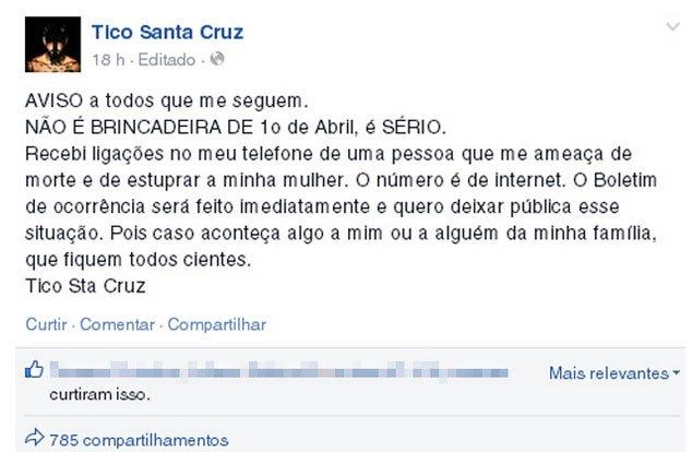 Bandido ameaça matar Tico Santa Cruz e estuprar mulher do cantor