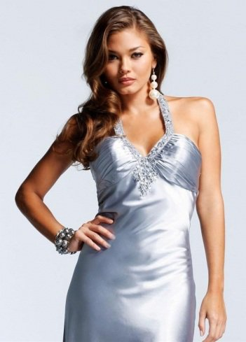 2011 Style Sheath / Column Halter Beading Sleeveless Floor-length Elastic Woven Satin Silver Prom Dress / Evening Dress