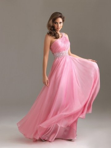 2012 Style A-line One Shoulder Beading Sleeveless Floor-length Chiffon Prom Dress / Evening Dress