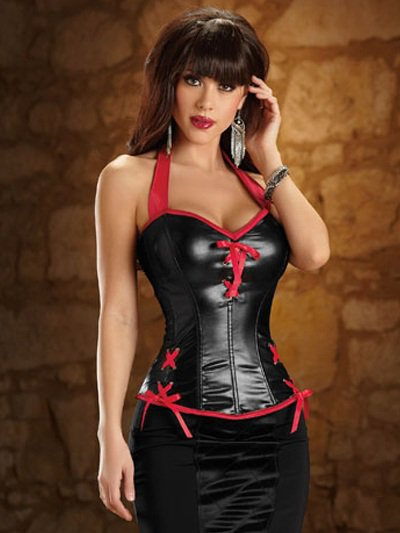 Sexy Black And Red Acrylic PVC Halter Womens Bustier Corset