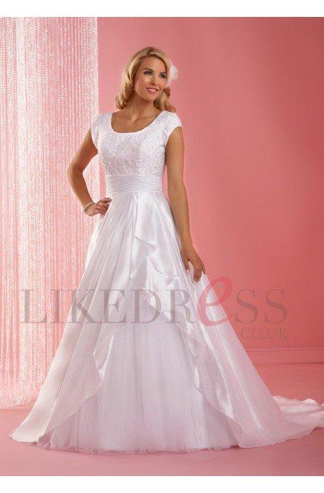 Elastic Satin Zipper Chapel Train Ivory 2014 Wedding Dresses - Likedress.co.uk