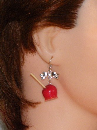 Boucle d'oreille pomme d'amour en fimo Argent 925