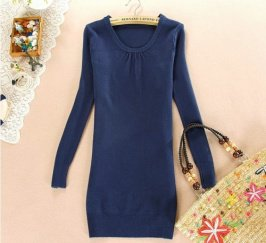 Buy New Arrival Leisure Round Neck Pleated Pure Color Sweater Blue with cheapest price|wholesale-dress.net
