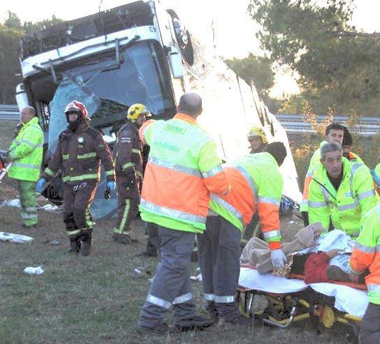 19-10-2009 - Espagne - Un autocar Néerlandais effectue une sortie d...