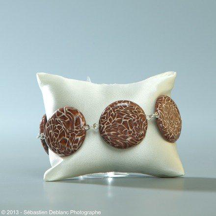Bracelet et ses ronds couleur Léopard en fimo : Bracelet par jl-bijoux-creation