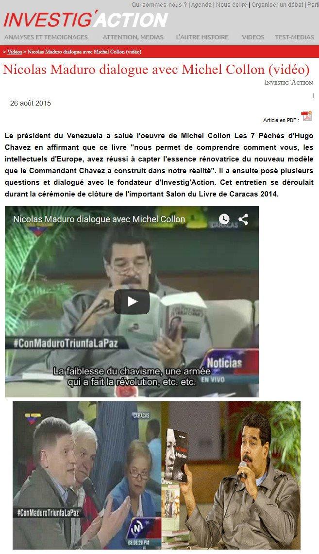 Salon du livre de Caracas 2014 : quand Nicolas Maduro a servi la soupe à Michel Collon