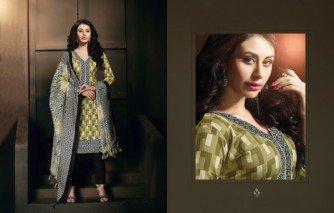 Admirable mehandi green and black color dress material of salwar kameej and dupatta
