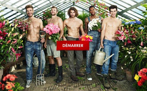 5 beaux jardiniers torses nus vous offrent des fleurs dans les rues de Paris : golem13