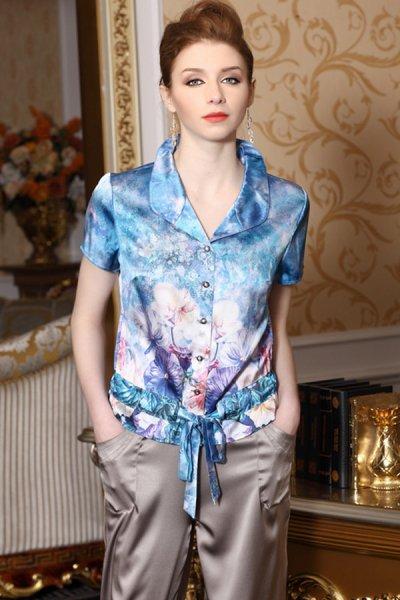 Gorgeous Floral Print Short Sleeve Silk Shirt - OASAP.com