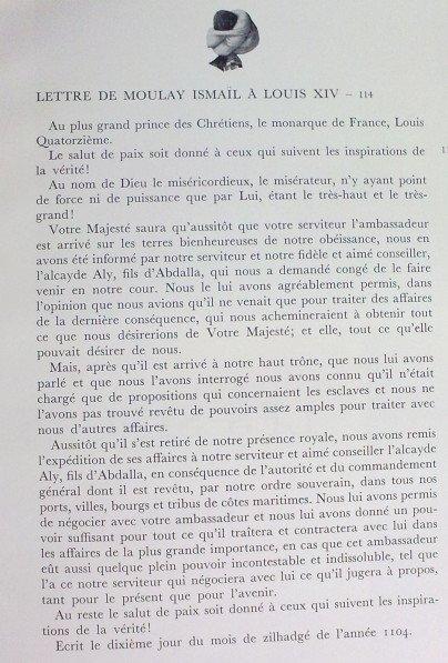 Lettre de Moulay Ismaïl à Louis XIV