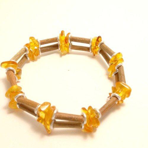 Bracelet double de perles de noisetier et chips d'ambre