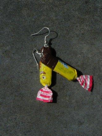 Boucle d'oreille bonbon au caramel en fimo Argent 925 : Boucles d'oreille par jl-bijoux-creation