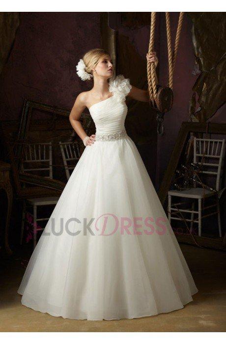 Ball Gown Organza One-shoulder Sleeveless Cheap Wedding Dresses - Luckdress.co.uk