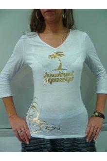 Tshirt femme blanc personnalisé modèle 2014 manches mi-longues - lOOked MIAMI
