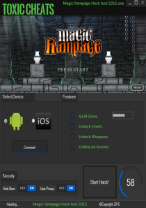 Magic Rampage Cheat tool, Unlimited health and gold - Toxic Cheats