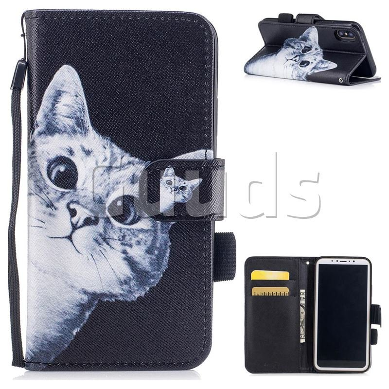 Curious Cat PU Leather Wallet Case for iPhone X(5.8 inch) - Leather Case - Guuds
